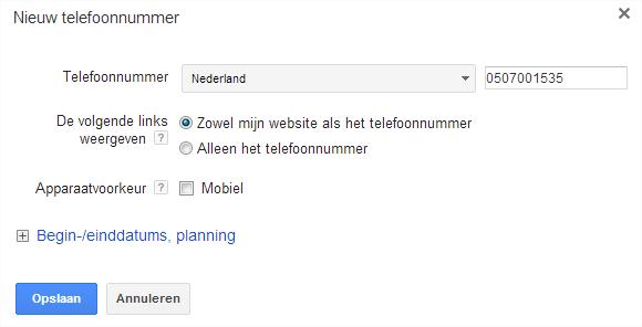 Planning telefoonnummer
