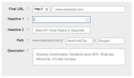 Extended text ads in de Google AdWords interface