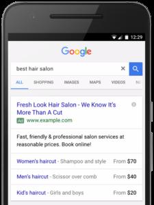prijsextensie google adwords
