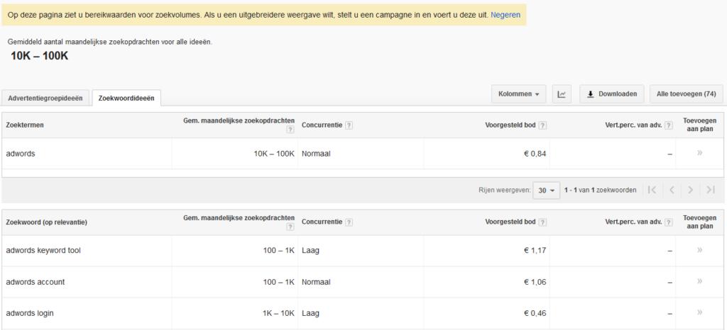 zoekwoordplanner-adwords-beperkt