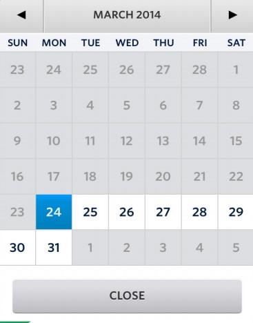 Kalender voor het selecteren van een datum op mobiel