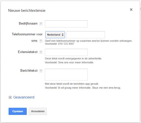 Berichtextensie in de backend van Google AdWords