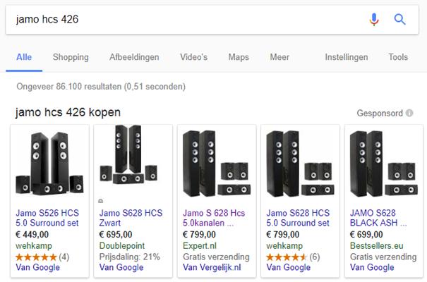 Zoekresultaat voor Jamo HCS 426 waarin ook prijsvergelijkers getoond worden tussen Google Shopping resultaten