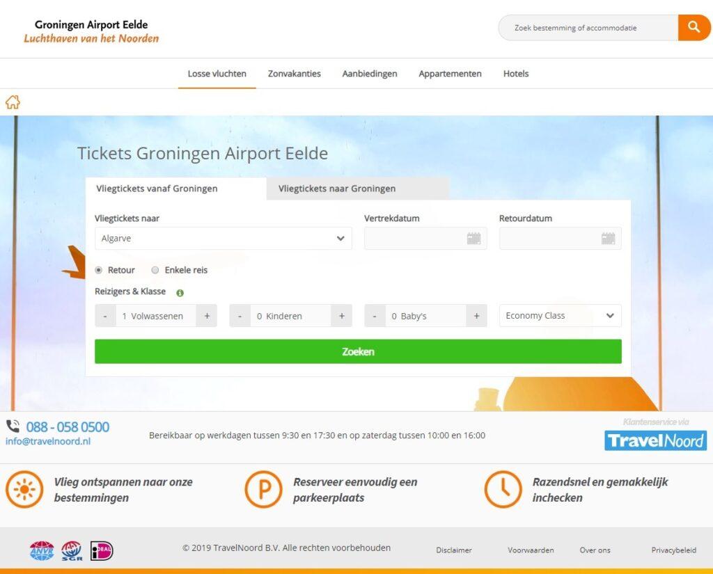 Ticket site Groningen Airport Eelde