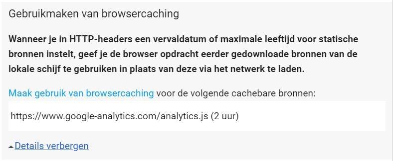 Browser caching Google Analytics