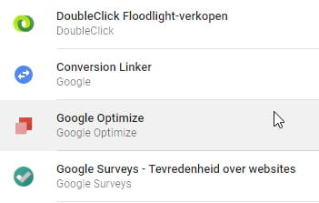Google Optimize in de tagmanager