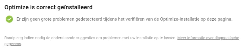 Optimize is correct geïnstalleerd