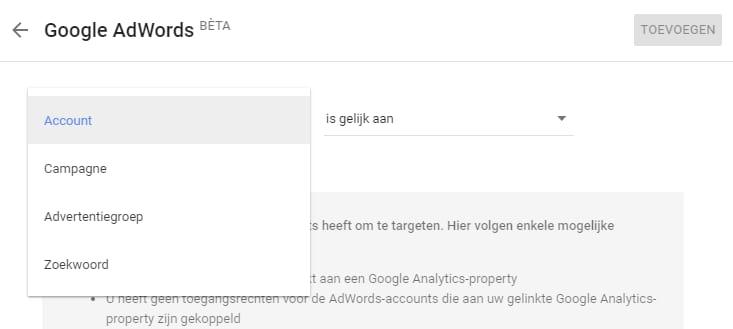 Je experiment richten op AdWords onderdelen zoals het keyword