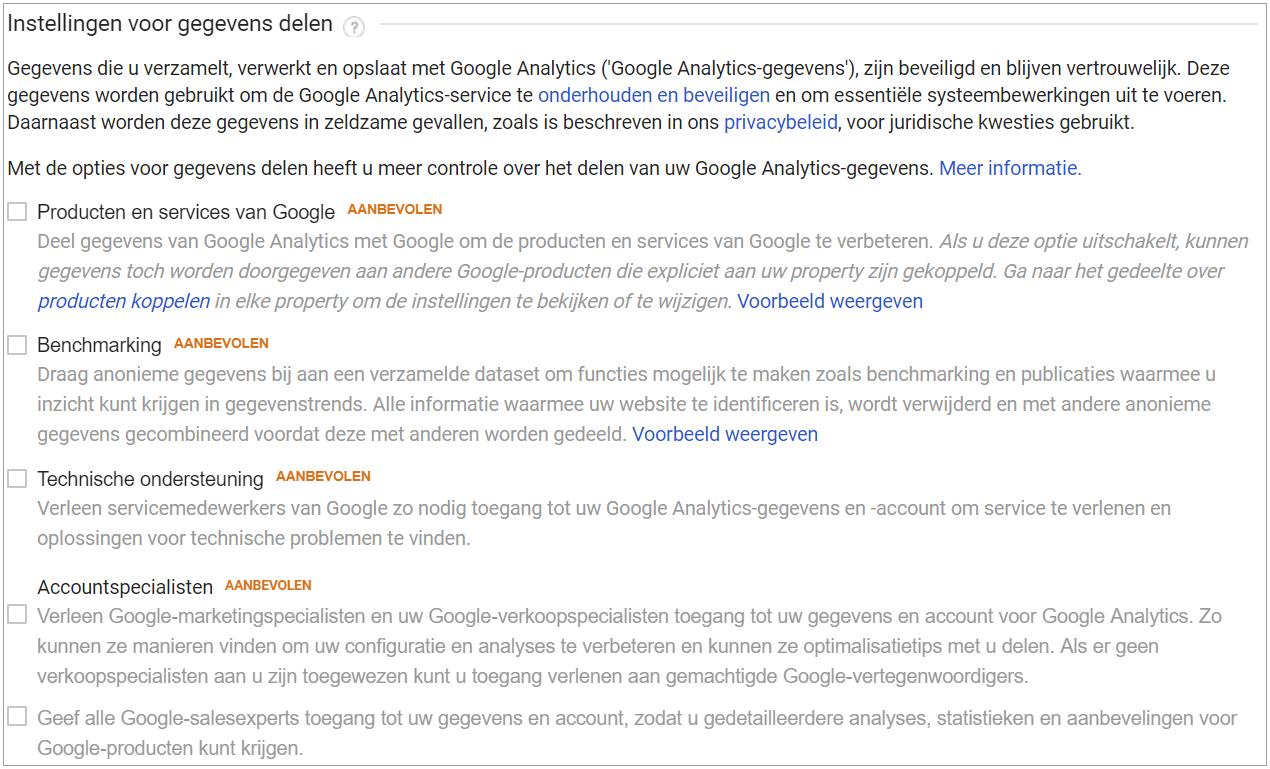 Gegevens met Google delen uitschakelen
