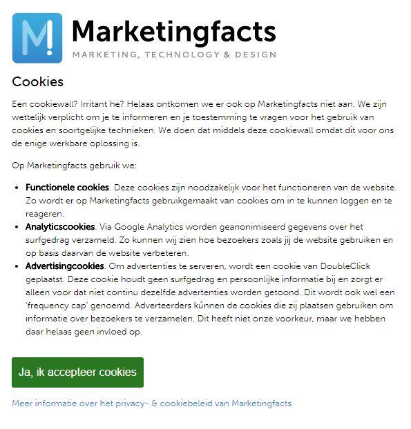 Marketingfacts cookie banner