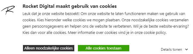 Rocket Digital cookie banner