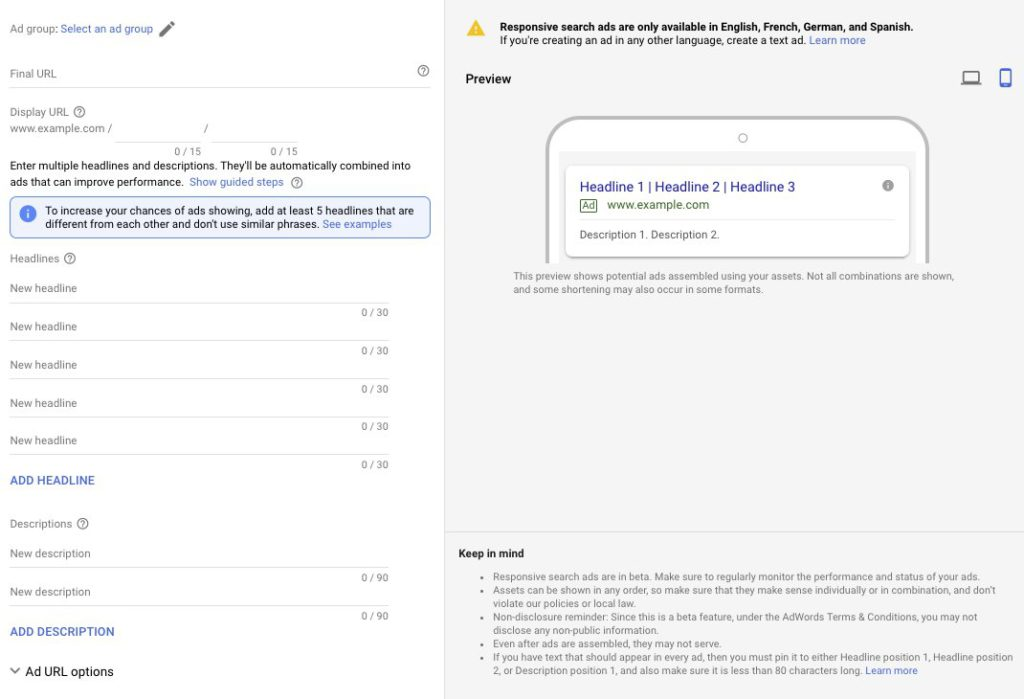 AdWords Responsive search ads