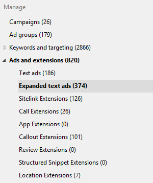 Bing Ads Editor Expended Text Ads