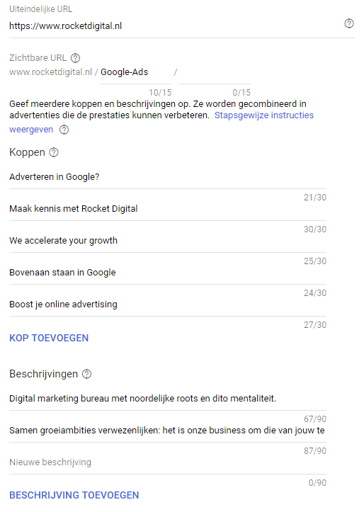 Responsieve zoekadvertenties in de interface
