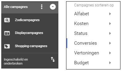 Google Ads campagnes sorteren