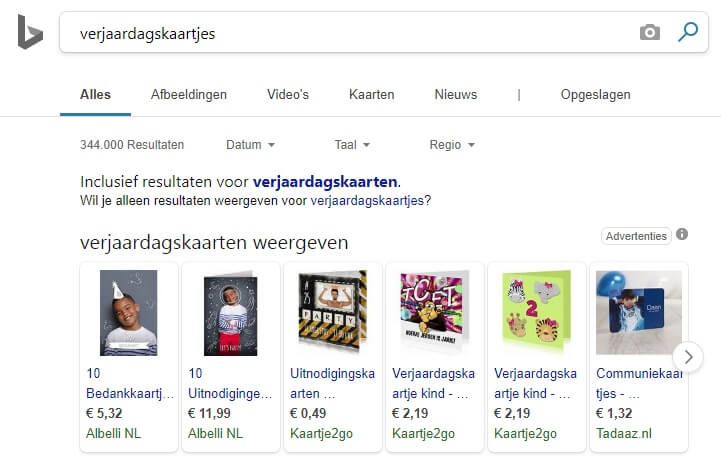 Bing Ads shopping resultaten