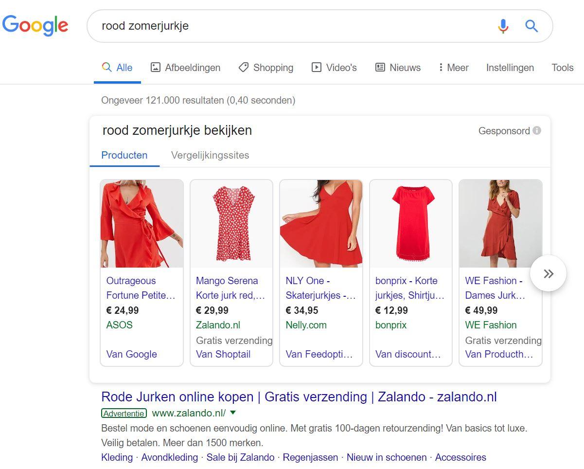 Voorbeeld Google Shopping advertentie