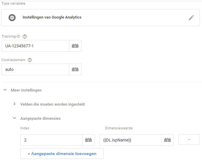 Google Analytics variabele voorzien van custom dimensie