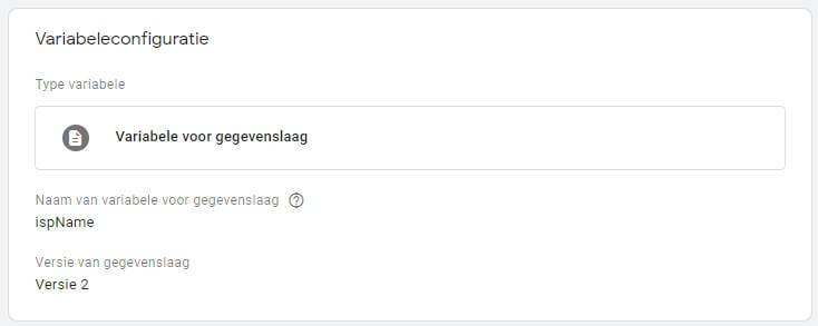 Google Tag Manager datalayer met isp informatie aanmaken