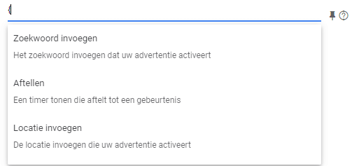 dynamische elementen responsive search ads